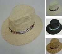 Paper Straw Large Brim Fedora [Printed Hat Band]